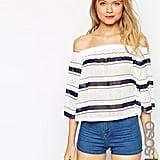 ASOS Off Shoulder Top in Horizontal Stripe ($36)