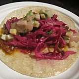 Alex's meaty taco was juicy and succulent.