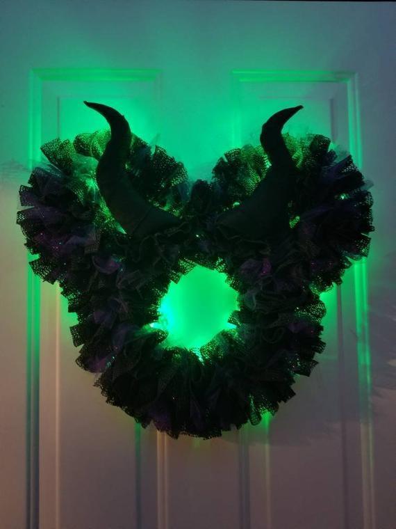 Maleficent Light Up Disney Villain Halloween Wreath