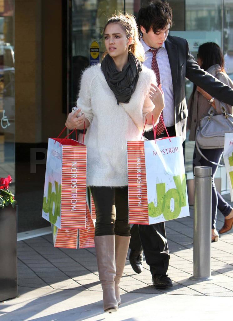 Jessica Alba shopping at Nordstrom.