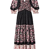 Rebecca Taylor La Vie Print Mix Smocked Dress