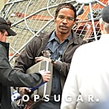 Jamie Foxx Geeks Out During a Spider-Man Shoot With Andrew Garfield