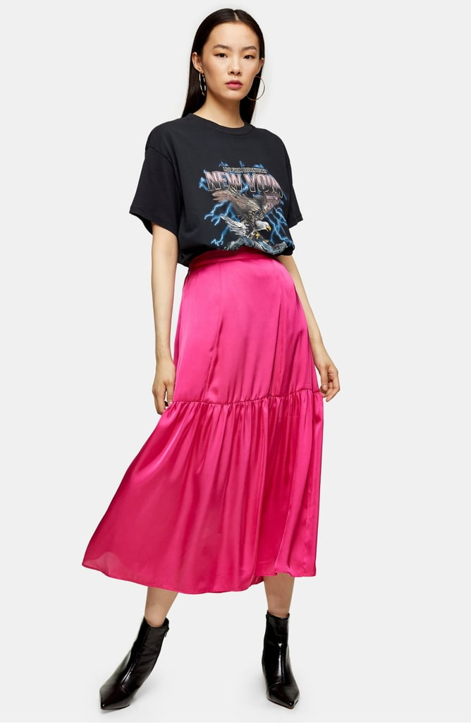 Topshop Satin Tiered Midi Skirt