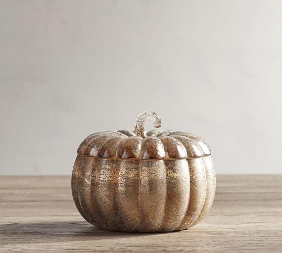 Mercury Lidded Pumpkin Candle Pot