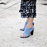 The chicest cornflower-blue Tibi mules outside the designer's show.