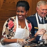 In November 2010, First Lady Michelle Obama joked around while serving meals to US soldiers at a US military airbase in Southwest Germany.