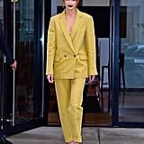 Gigi Hadid Yellow Pantsuit at Being Serena Premiere