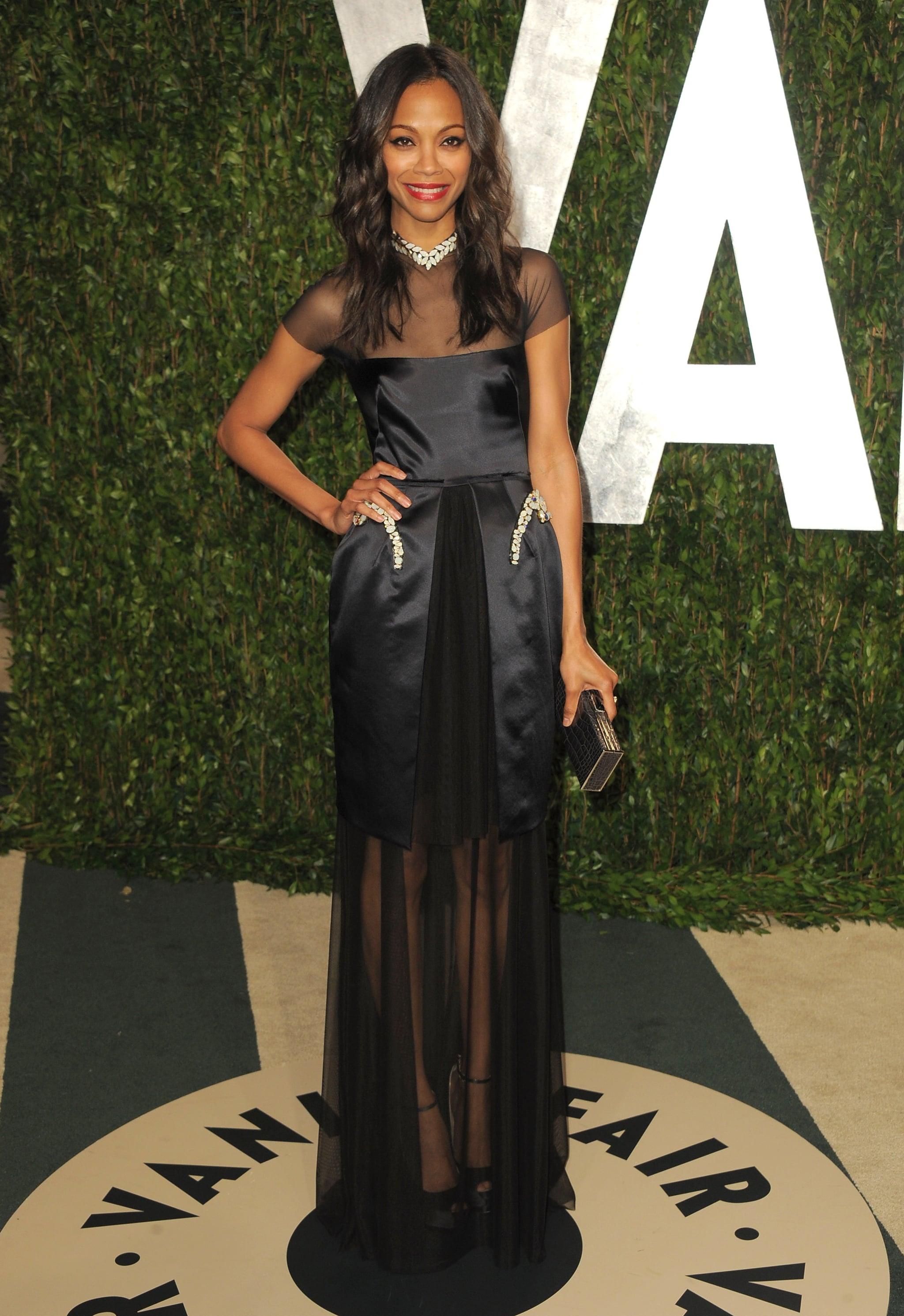Zoe Saldana at the Vanity Fair Oscar party