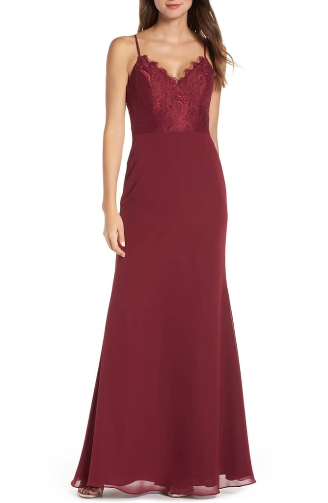 Hayley Paige Occasions Sleeveless Rose Lace & Chiffon Evening Dress