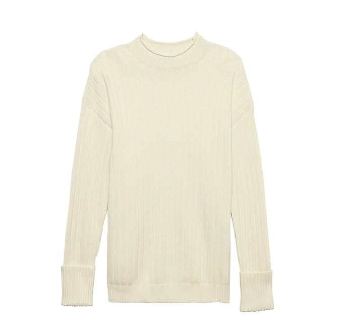 Machine-Washable Wool-Cashmere Ribbed Sweater