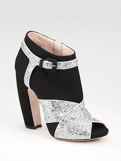 Miu Miu Criss Cross Glitter Ankle Boot ($890)