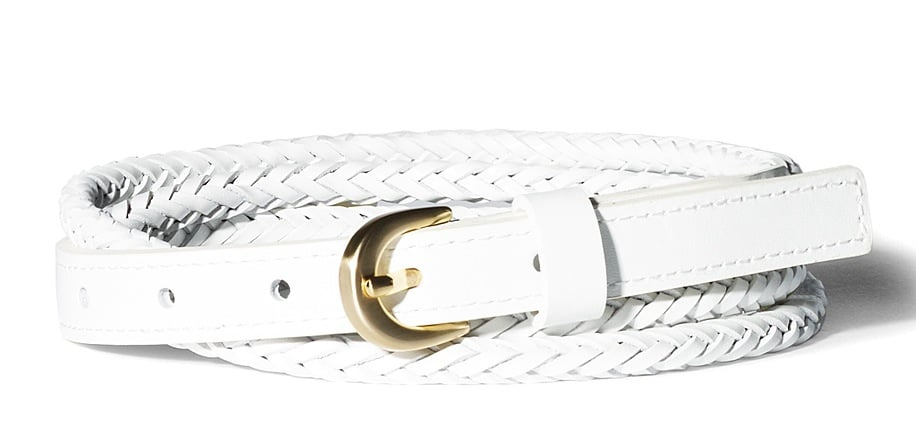 Since the white color spins a solid contrast, we're loving the fact that the braided texture only adds interest. The belt should be worn higher up on the waist and cinched with looser silhouettes like a flowy maxi dress. Vince Camuto Skinny Double Braid Belt in White ($42)