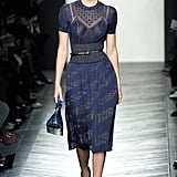 It Was a Sheer Blue Dress and Mary-Jane Shoes For the Model at Bottega Veneta
