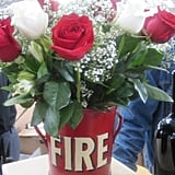 I loved this old canister filled with fresh roses.