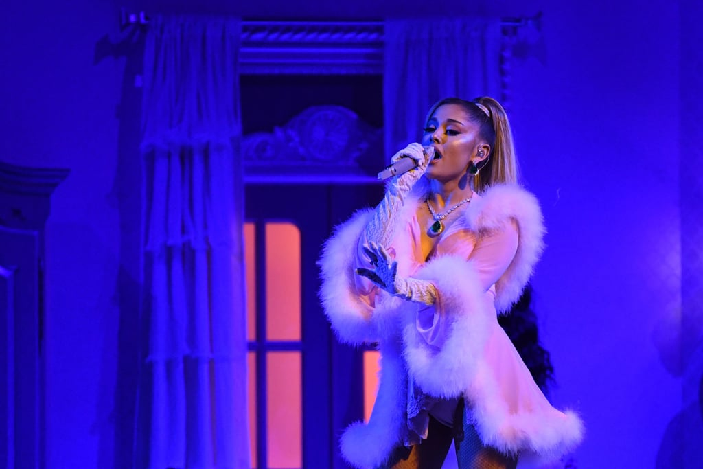 "Did Ariana Grande transport her entire closet to the 2020 Grammys? Because her fashionable appearance featured several outfit switch-ups. After wearing not one but two buoyant Giambattista Valli gowns on the red carpet, the singer began her Thank U, Next medley performance in a classic black ball gown, lace elbow-length gloves, and massive jewels. The vibe quickly changed, however, when Ariana slipped into some lingerie and a feathery robe. To quote Dolly Parton, ""Get you a woman who can do it all."" See pictures of her sophisticated and sexy performance outfits ahead.      Related:                                                                                                           Aww! Ariana Grande Brought Her Parents to the Grammys, and We Love This Fam"