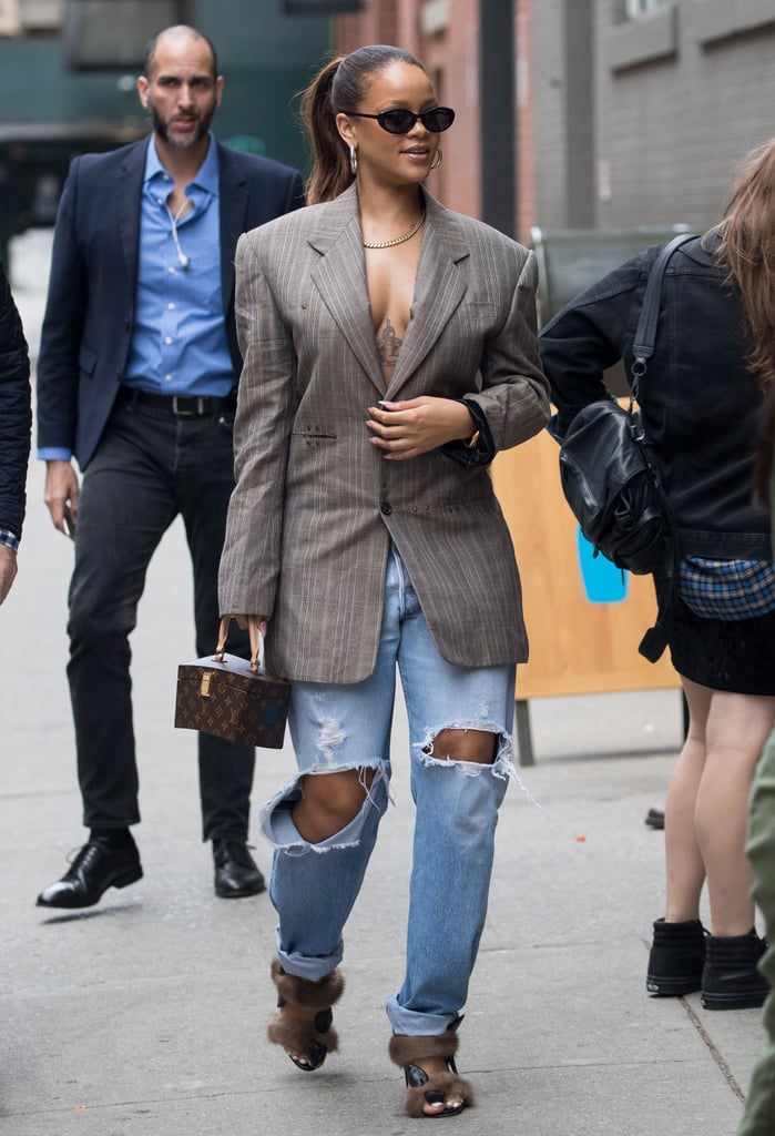 3c34db587c30b In 2017, Rihanna wore an oversize blazer and baggy jeans with furry heels.  She