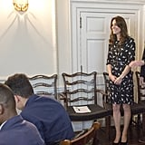 Kate paired the look with black heels and a silver watch.