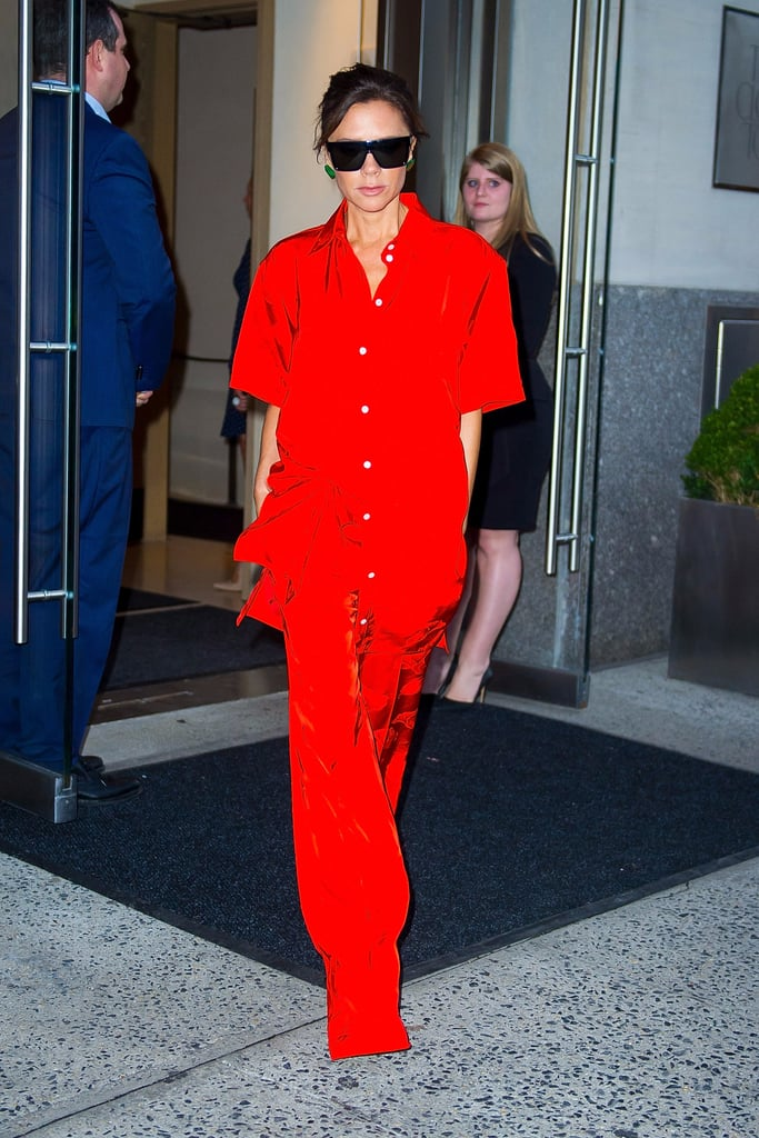 Victoria Beckham Wearing Red Silk Pajamas