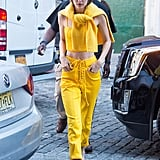 Gigi shined brighter than the sun in June 2017 in a yellow ensemble.