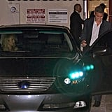 George Clooney got into the car with Stacy Keibler leaving a dinner date with Cindy Crawford and Rande Gerber in LA.