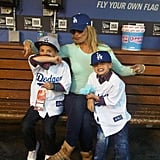 Britney and her boys cheered for the LA Dodgers at a baseball game in April 2013.