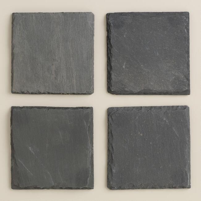 Square Slate Coasters, Set of Four
