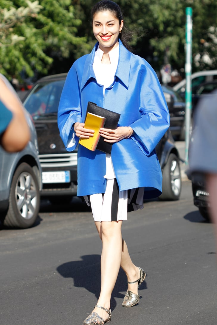 Caroline Issa Added A High Impact Layer To Striped Bottoms And Flats Street Style At Mens