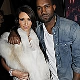 Kim Kardashian showed support to Kanye West at his first runway show during Paris Fashion Week in March 2012.
