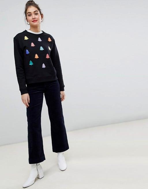 Monki Xmas Sweater With Rainbow Xmas Trees