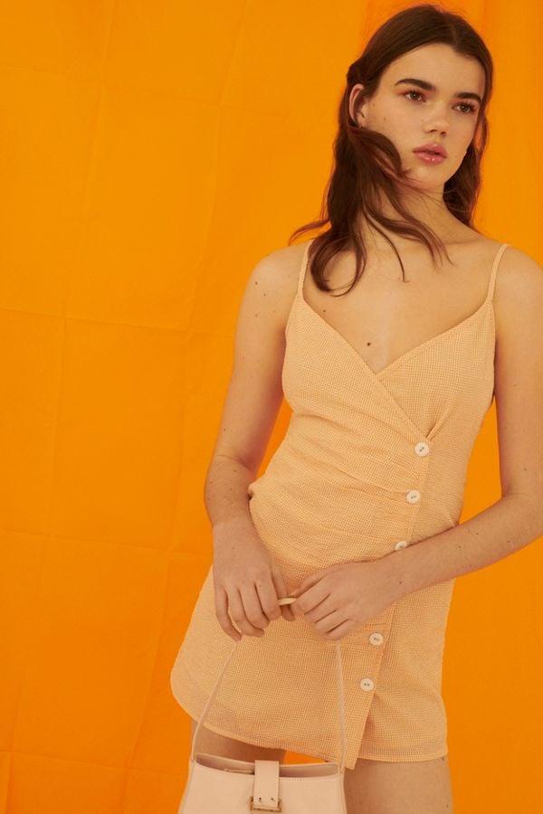 7174356de884 UO Gingham Surplice Button-Front Mini Dress | Petite Spring Dresses ...