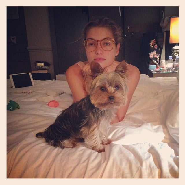 Jessica Hart relaxed with her dog in her Paris hotel room. Source: Instagram user 1jessicahart