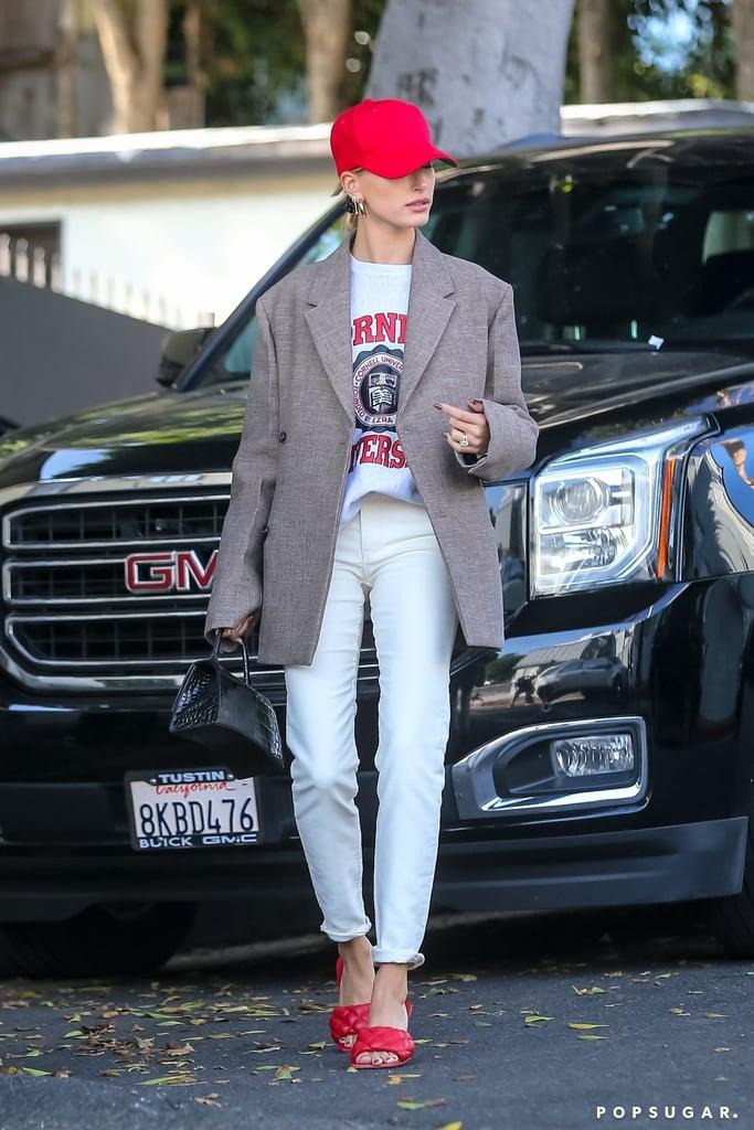 Hailey Baldwin Wearing a College Sweatshirt in Beverly Hills, CA