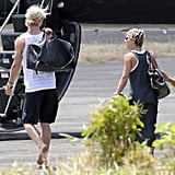 Chris Hemsworth and wife Elsa Pataky prepared to leave St. Lucia after attending Matt and Luciana Damon's wedding vow renewal ceremony.