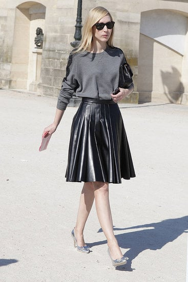 "Jane Keltner was spotted wearing a softly pleated version during this past Paris Fashion Week. Shop the look: <iframe src=""http://widget.shopstyle.com/widget?pid=uid5121-1693761-41&look=4084673&width=3&height=3&layouttype=0&border=0&footer=0"" frameborder=""0"" height=""244"" scrolling=""no"" width=""286""></iframe> Photo by Greg Kessler"