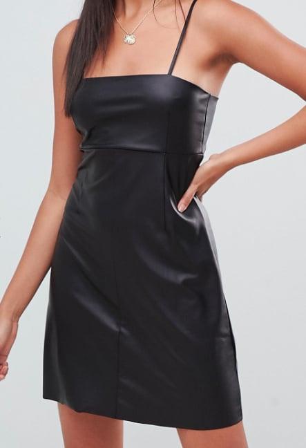 ASOS Design Faux Leather Seamed Mini Dress