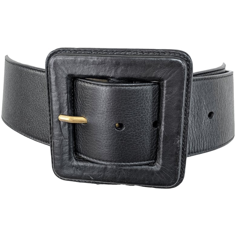 Black Chunky Square Buckle Belt by Yves Saint Laurent