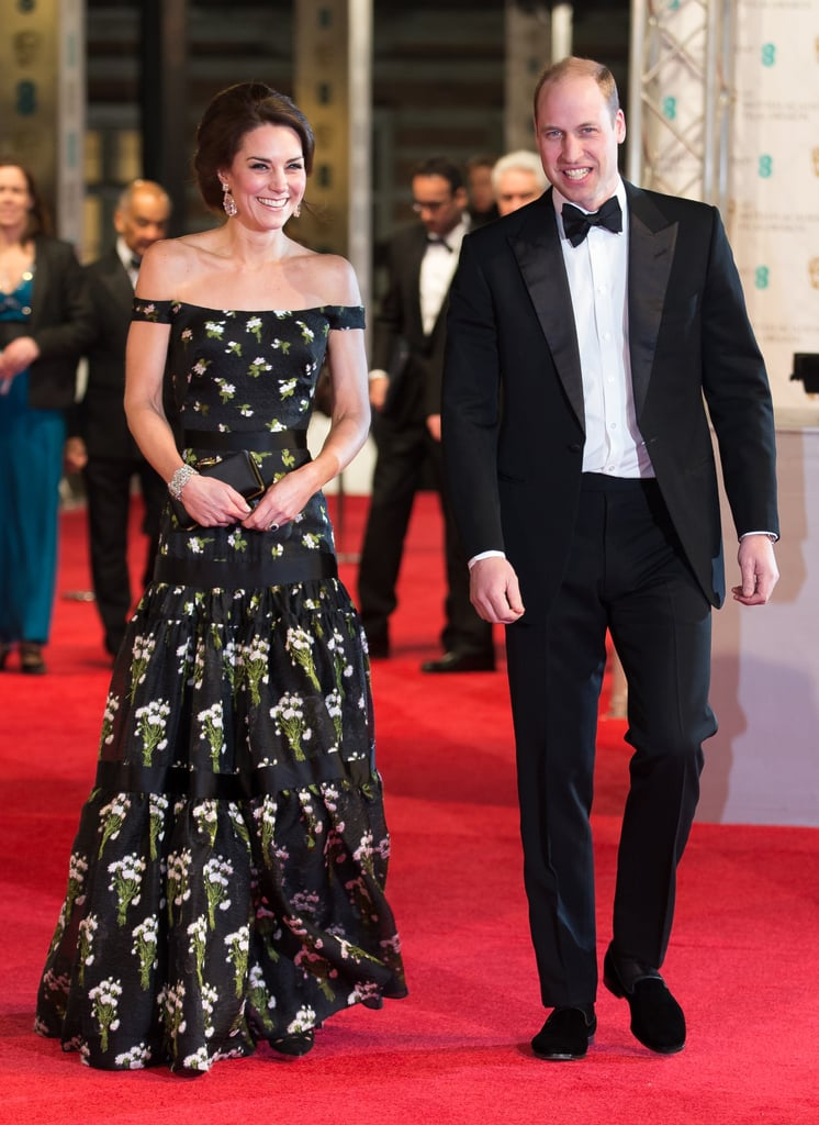 The Duke and Duchess of Cambridge arrived in style at the BAFTA Awards in London on Sunday. The red carpet was cleared for the royal arrival: Kate stunned in an off-the-shoulder Alexander McQueen gown, while William looked sharp in black tie. The couple were all smiles as they headed inside and took their seats in the front row, and despite being royalty, they managed to fit in pretty well among all the movie stars, including Naomie Harris, Nicole Kidman, Eddie Redmayne, and Andrew Garfield, who had a run-in with ex-girlfriend Emma Stone at a pre-BAFTAs bash earlier in the weekend. Kate and William's glamorous night out comes after a whirlwind few weeks of charity events, including a day out with cute kids and a philanthropic foot race with Prince Harry.       Related:                                                                                                           16 Reasons William and Kate Are Perfect For Each Other