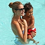 Doutzen Kroes was all smiles in the pool.