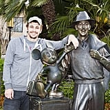 James Franco got up close and personal with a statue of Walt Disney at the LA park in March 2013.