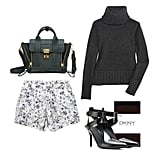 Suit up for work or weekend in your favorite pair of printed silk shorts — cozy up with a cable-knit turtleneck sweater, black tights, and a sexy pair of pointed-toe pumps. Throw on a ladylike cool coat or fur-lined parka for extra added warmth. Shop the look:   3.1 Phillip Lim Pashli Mini Satchel ($650)  Donna Karan Wool and Cashmere Blend Turtleneck Sweater ($225)  DKNY Hosiery Opaque Tights ($20)  Alexander Wang Sonja Mid-Heel Pumps ($759)  Emma Cook Printed Silk Shorts ($340)