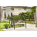 Hampton Bay Belcourt Metal Outdoor Swing With Stand and Canopy
