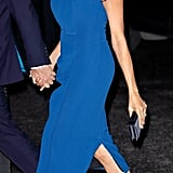Meghan wore bedazzled Aquazzura slingback pumps to match with her blue Jason Wu dress at the 100 Days of Peace concert in September 2018.