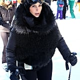 Kim joined her sister Kourtney and her fiancé, Kanye West, for a day of skiing.
