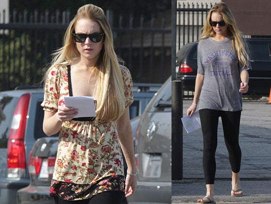 Photos Of Lindsay Lohan Wearing Leggings on the Set of Labor Pains
