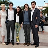 Kristen Stewart and Kirsten Dunst posed with cast mates Garrett Hedlund and Sam Riley with director Walter Salles at the On the Road photocall at the Cannes Film Festival.