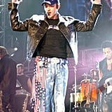 Justin Timberlake accented his outfit with American flags while performing with 'NSync in October 2001.