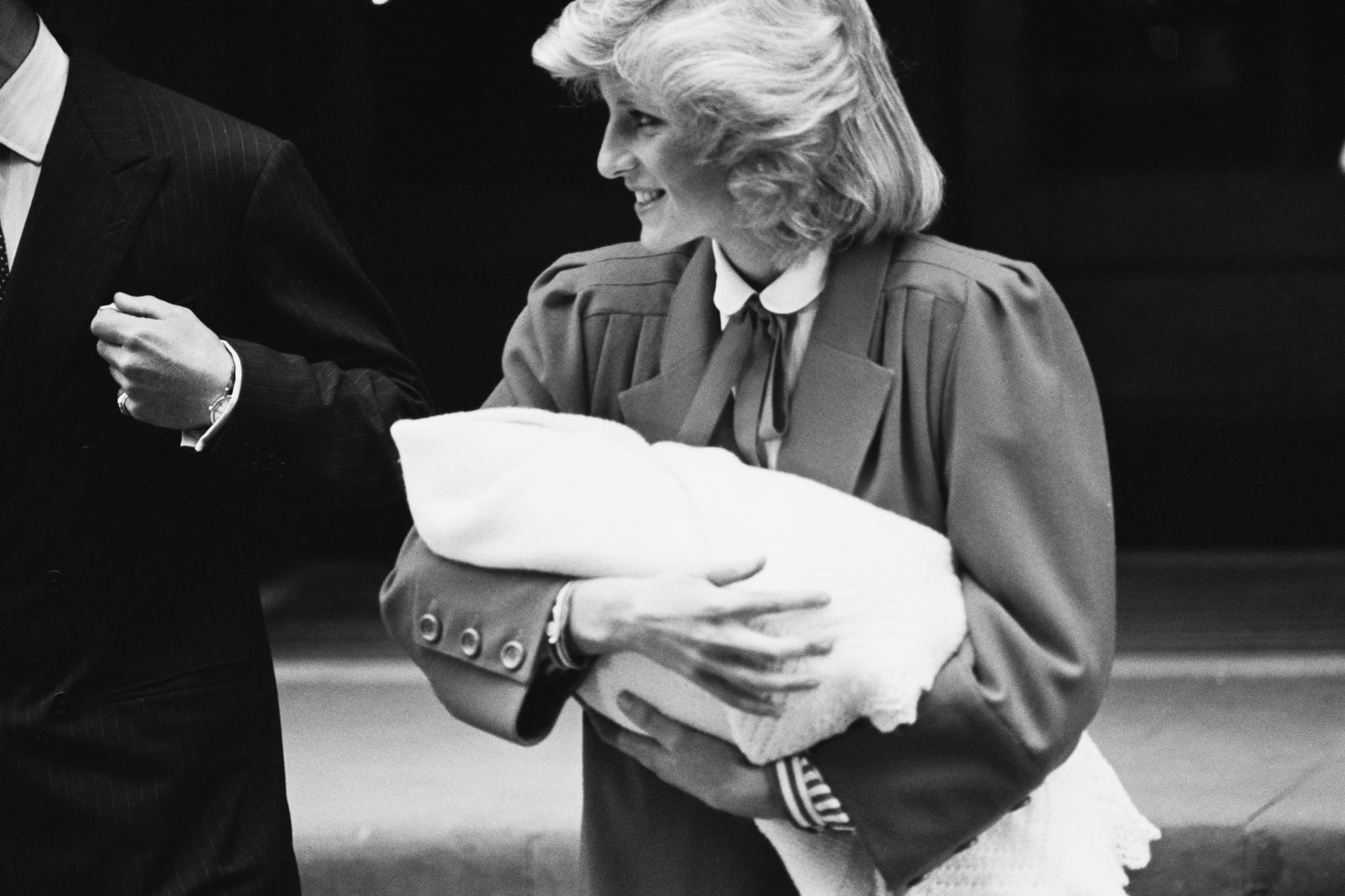 Diana, Princess of Wales (1961-1997) leaves the Lindo Wing of St Mary's Hospital with her son Prince Harry, in Paddington, London, England, 16th September 1984. Harry had been born the previous day. (Photo by K. Butler/Daily Express/Hulton Archive/Getty Images)
