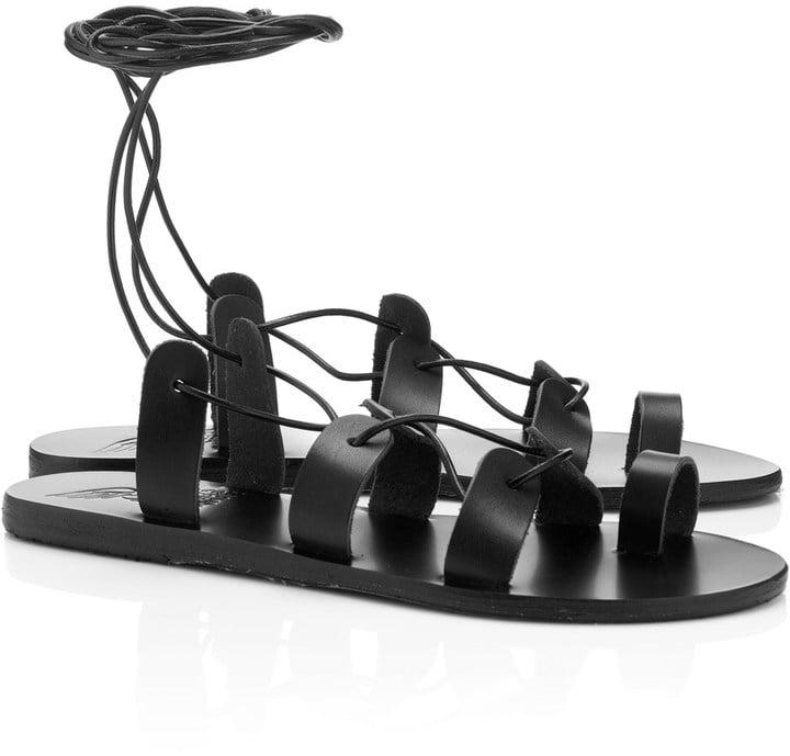 Ancient Greek Sandals Black Leather Alcyone Sandals ($165)