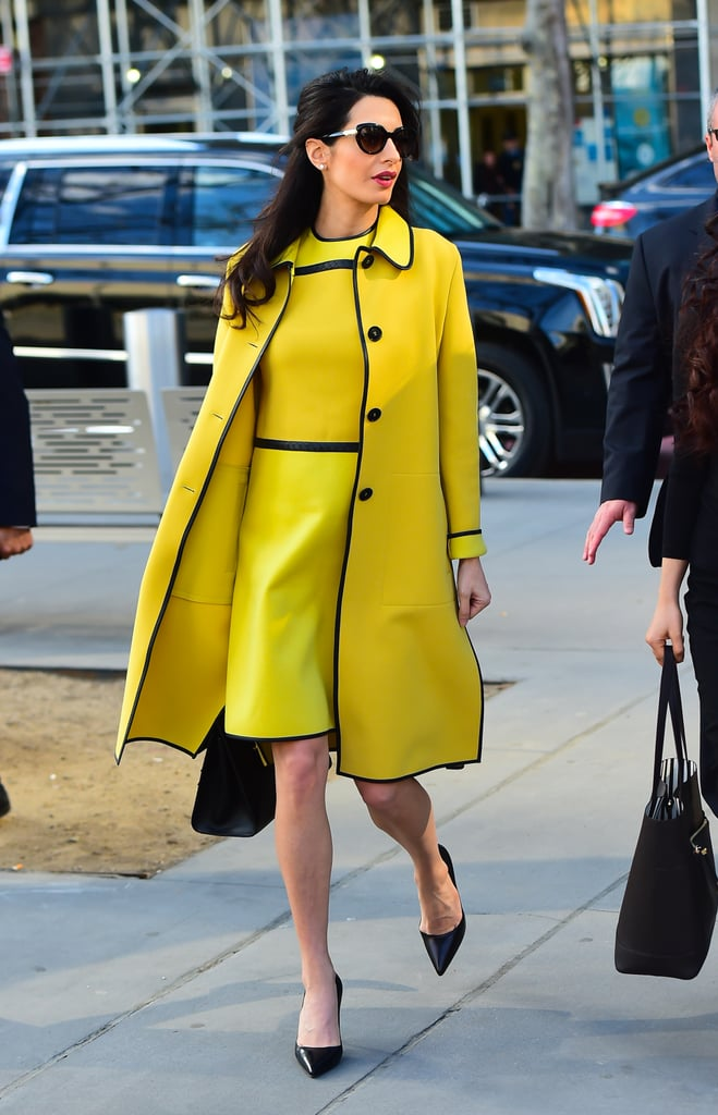 Amal Clooney S Yellow Bottega Veneta Dress March 2017