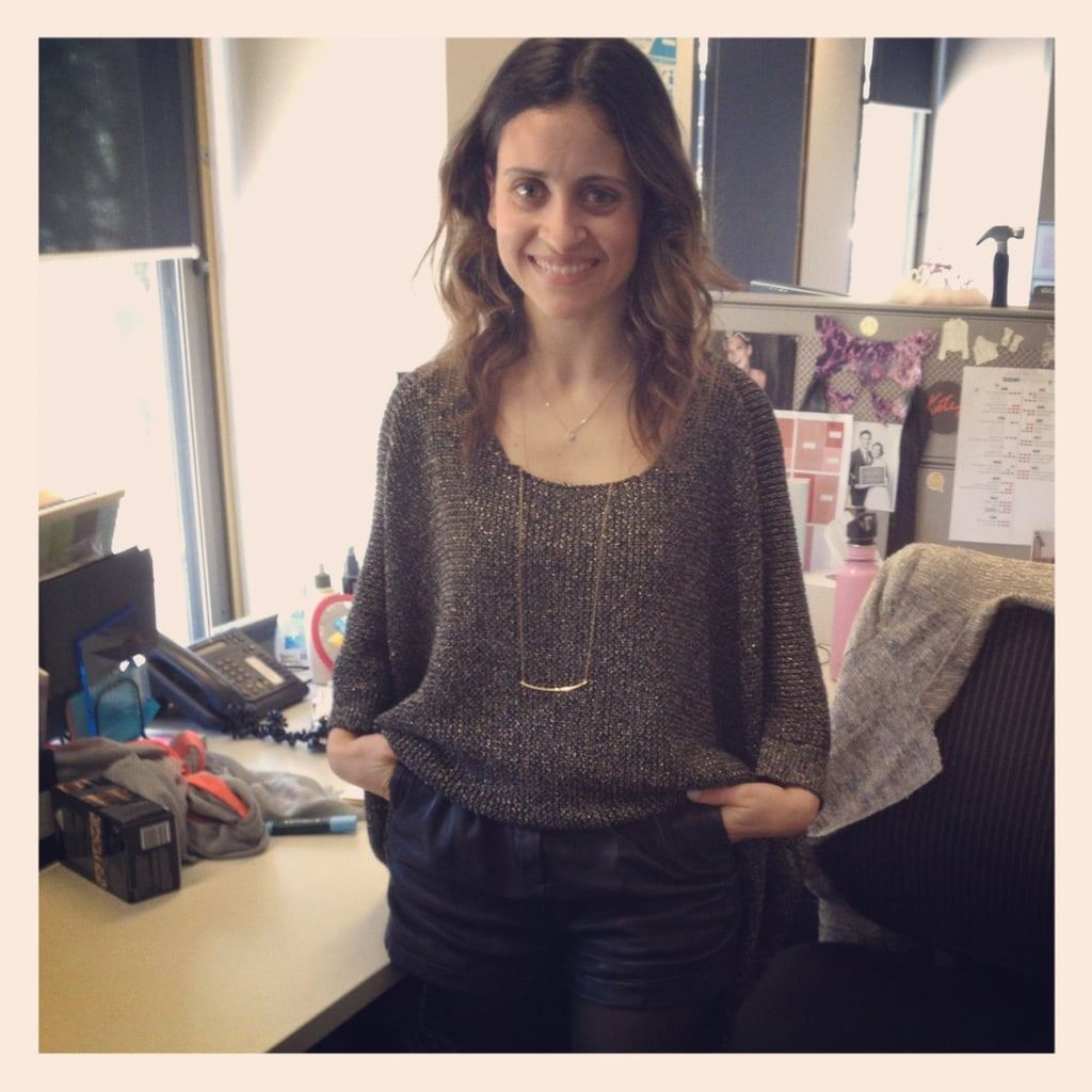 Marisa was stylish in a Stylestalker knit, Twenty8twelve leather shorts, and a fine Gorjana necklace.